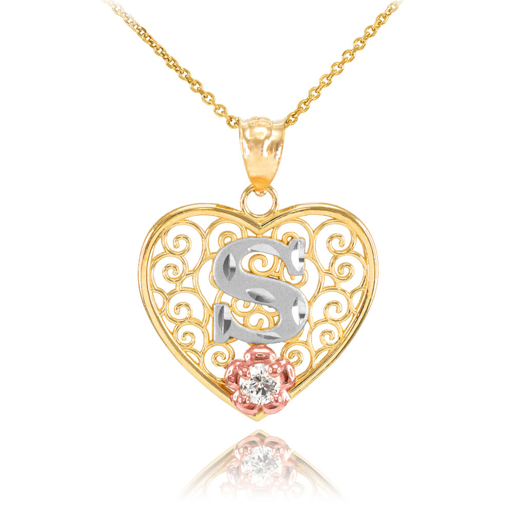 fb894d289f01d CZ Precision Cut Filigree Heart Letter S Necklace in 9ct Two-Tone Gold