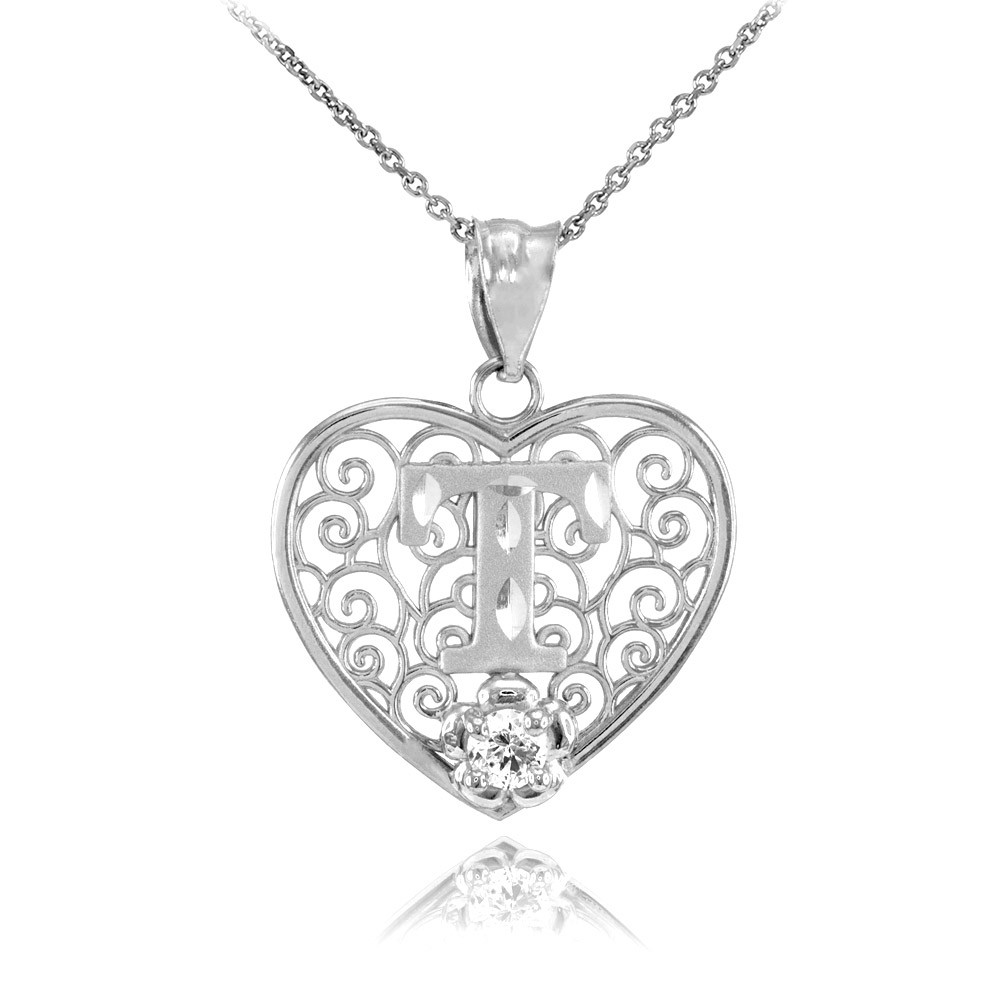 gold boutique cz precision cut filigree heart letter t necklace in sterling silver