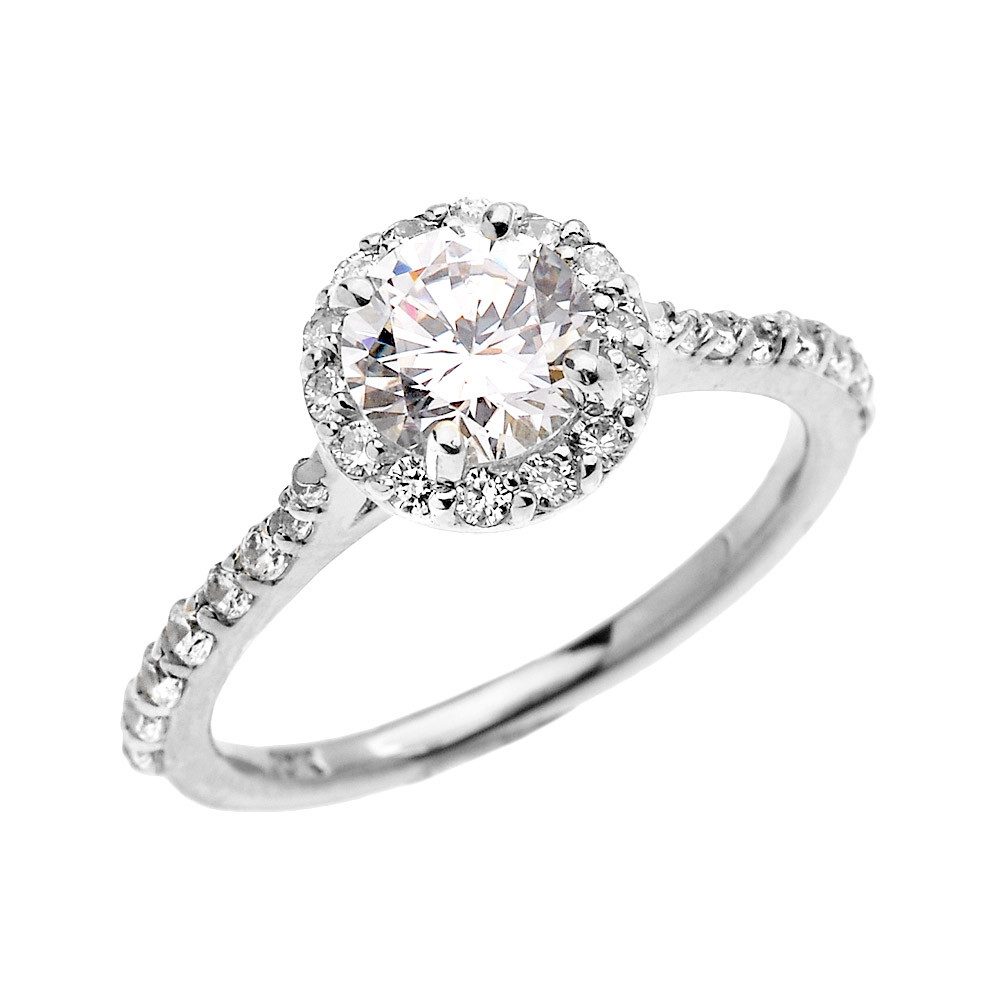 Cz Halo Engagement Ring In 10k White Gold Gold Boutique