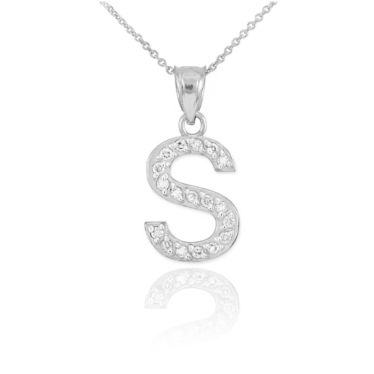 diamond letter necklace cz letter s pendant necklace in sterling silver gold 21360