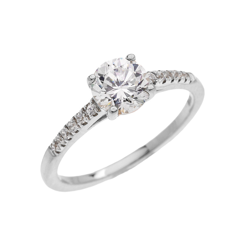 CZ Micro-Pave Diamond Band Engagement Ring In 9ct White