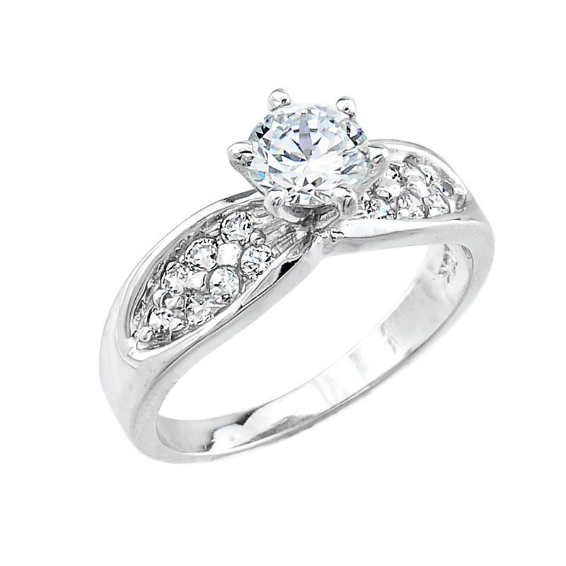 Cz Micro Pave Solitaire Engagement Ring In Sterling Silver Gold Boutique