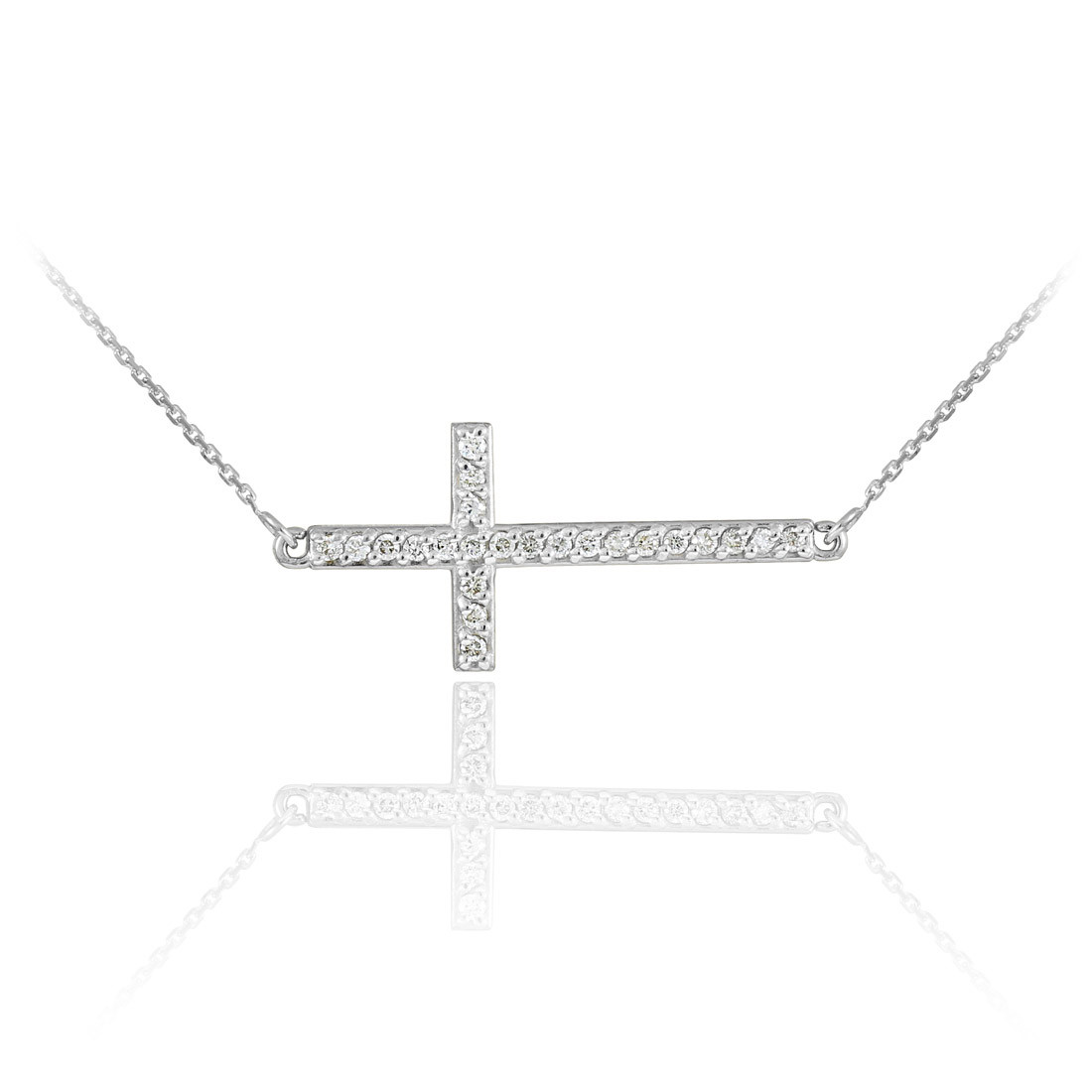 Cz sideways cross pendant necklace in sterling silver gold boutique gold boutique cz sideways cross pendant necklace in sterling silver cz cross pendant necklace in solid 925 sterling silver aloadofball Choice Image