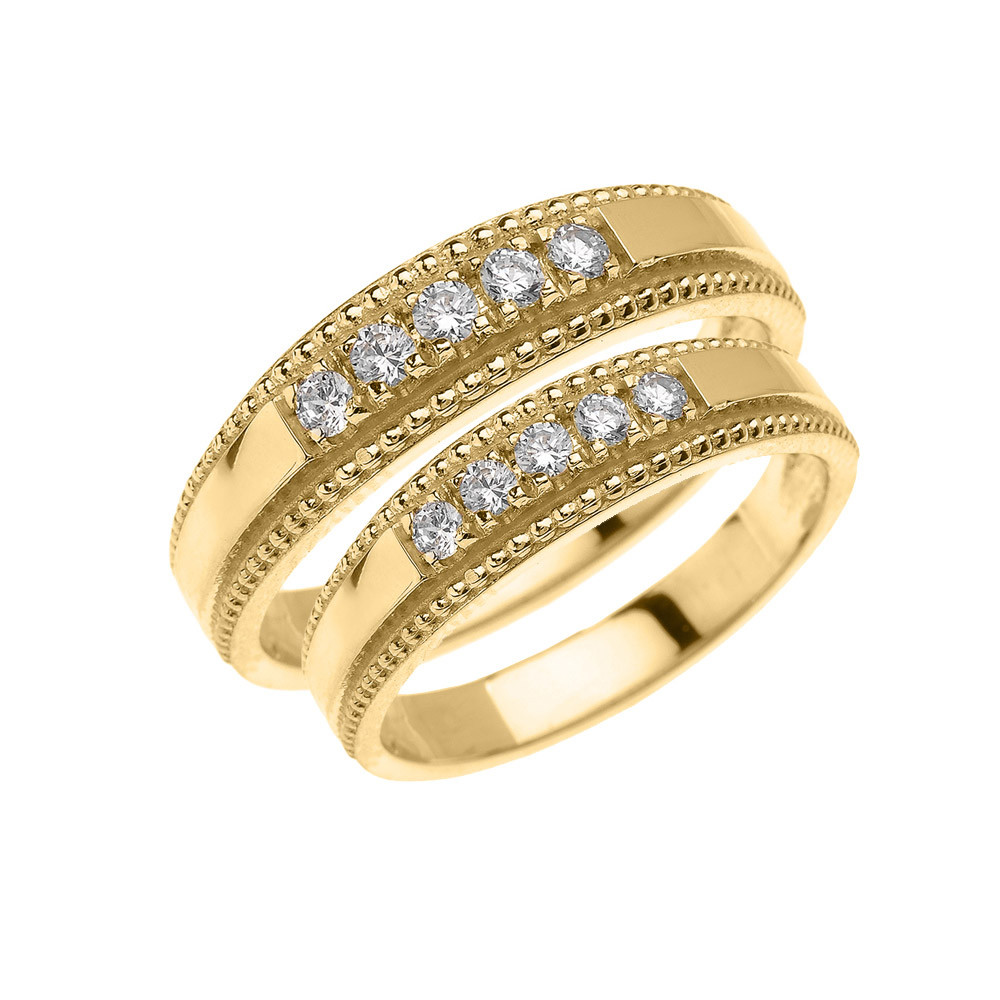 GB63065Y 976 InStock Https://www.goldboutique.com/cz Two Piece Matching  Wedding Rings Set In Gold Gb63065y Gold Boutique