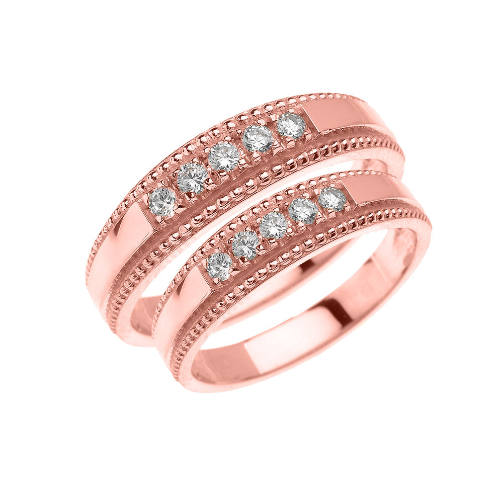 CZ Two-Piece Matching Wedding Rings Set in 9ct Rose Gold | Gold Boutique