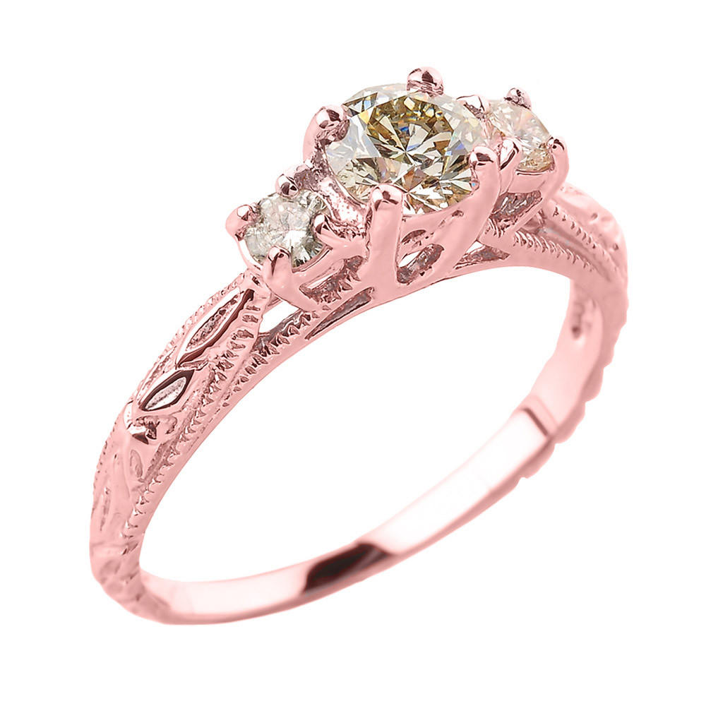 0.6ct Diamond Art Deco 3 Stone Engagement Ring in 9ct Rose Gold ...