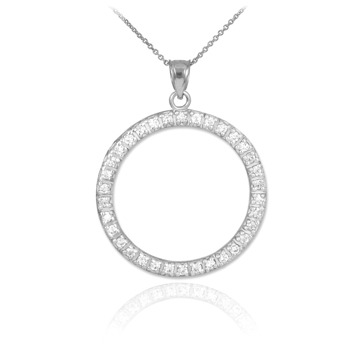 9792e9bf96b62 Diamond Eternity Circle of Life Pendant Necklace in 9ct White Gold