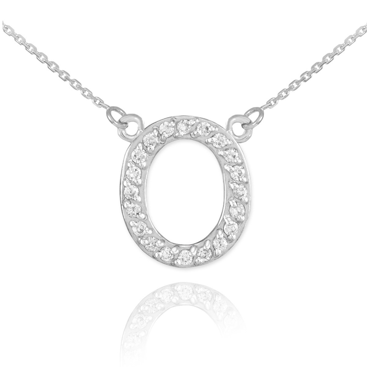 diamond letter necklace letter o pendant necklace in 9ct white gold gold 21360