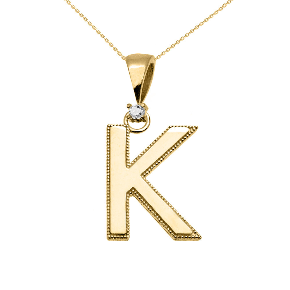 Ct Diamond Milgrain Letter K Pendant Necklace In Ct Gold