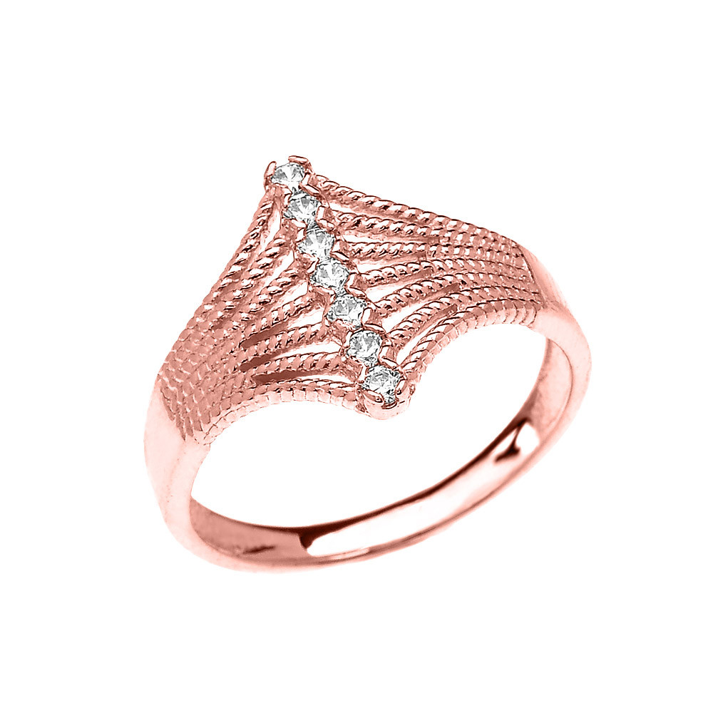 0.1ct Diamond Modern 7 Stone Rope Design Twisted Rope Ring in 9ct ...