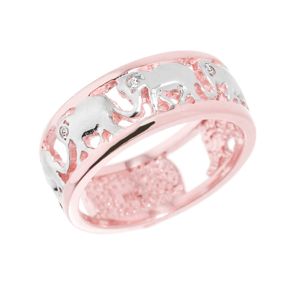 0.04ct Diamond Openwork Elephant Ring in 9ct Rose Gold | Gold Boutique