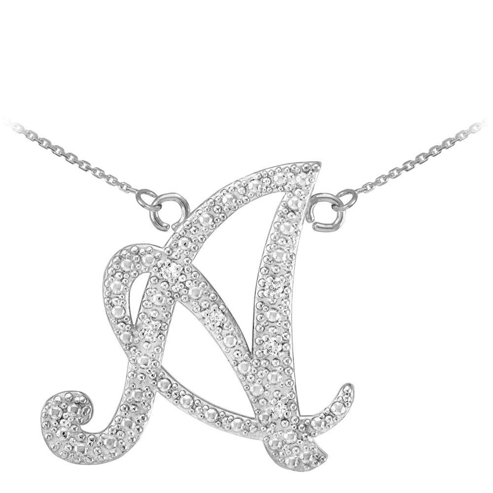 diamond letter necklace script letter a pendant necklace in 9ct white gold 21360