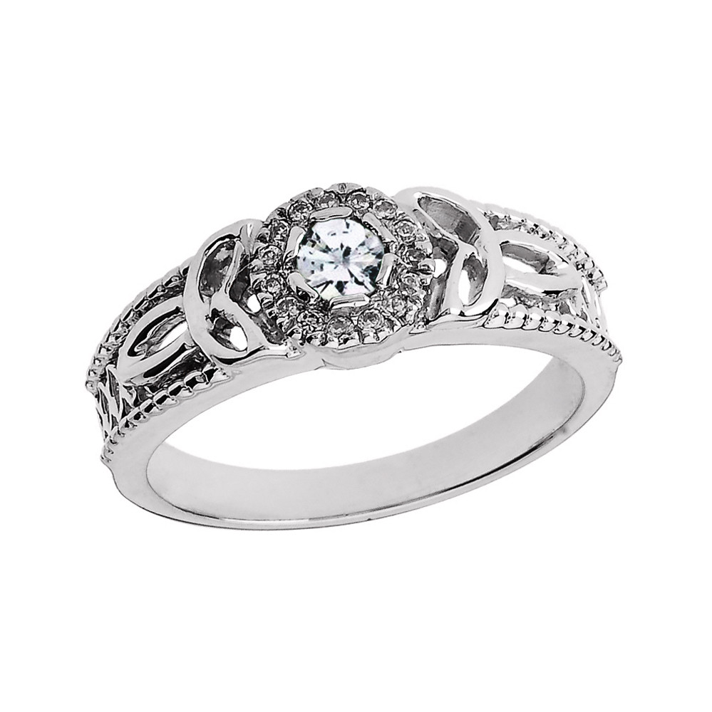 Diamond Trinity Knot Vintage Engagement Ring In 10K White