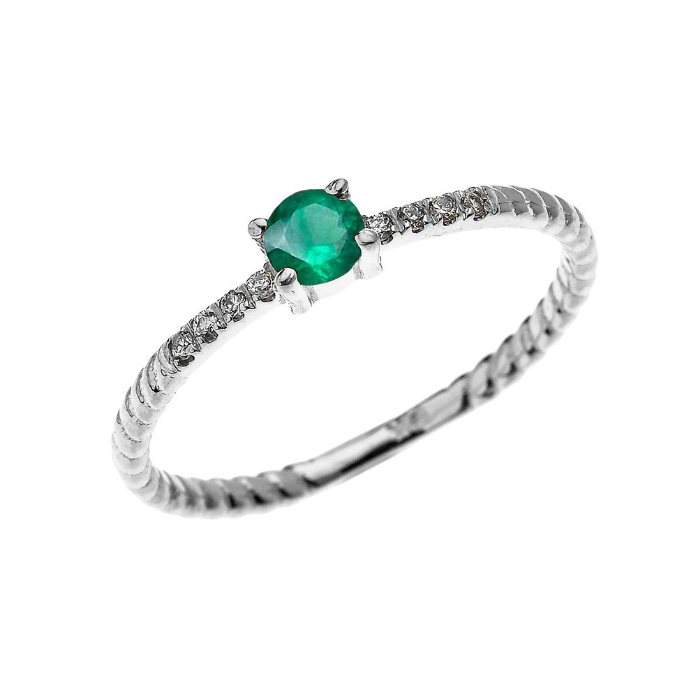 Rope Design Bands: 0.08ct Emerald Stackable Rope Design Twisted Rope Ring In