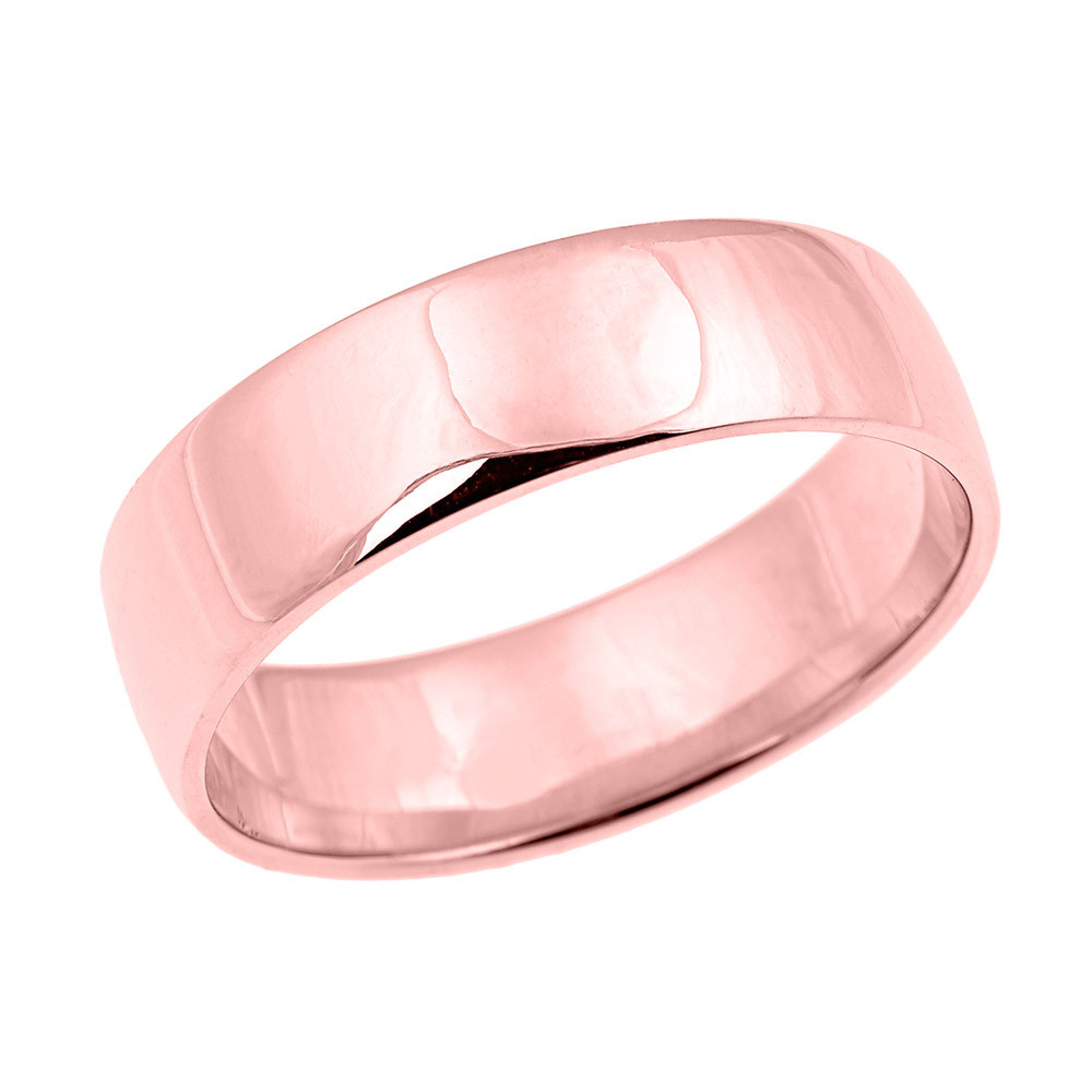 Men\'s Comfort Fit Classic Plain Wedding Ring in 9ct Rose Gold | Gold ...