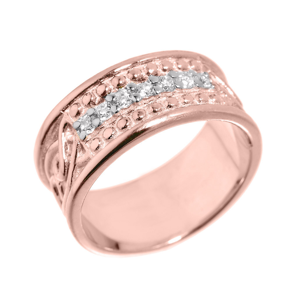 Men\'s CZ Knot Wedding Ring in 9ct Rose Gold | Gold Boutique