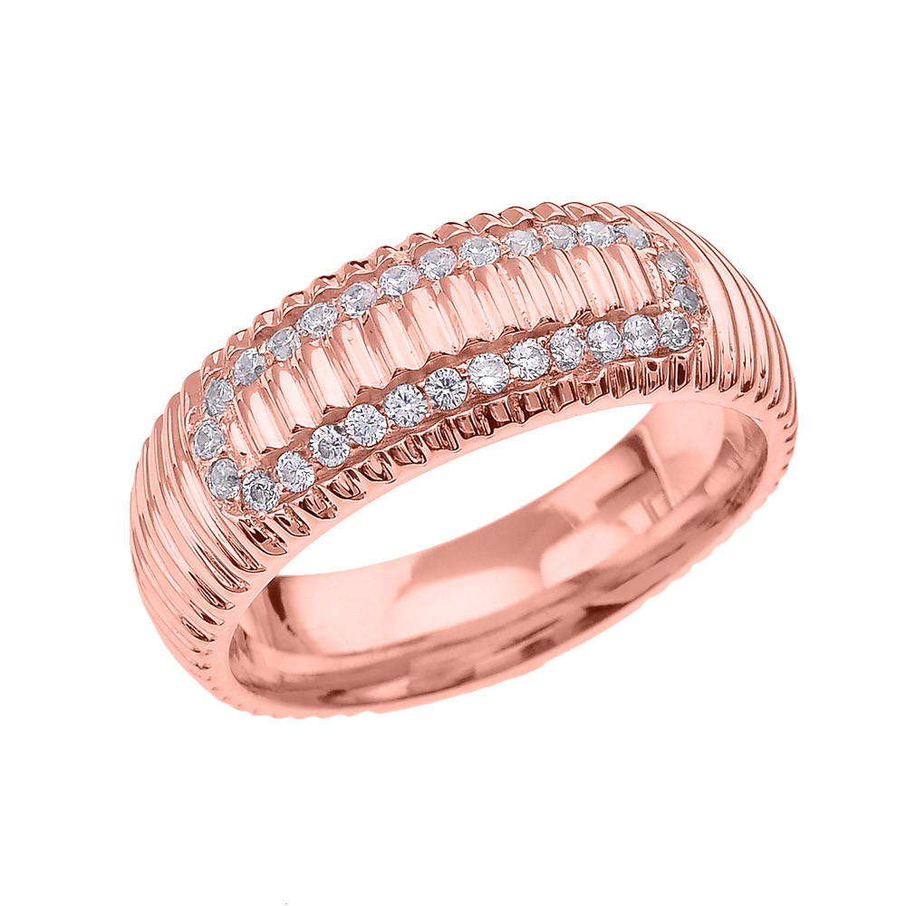 Men\'s 0.4ct Diamond Watchband Design Comfort Fit Ring in 9ct Rose ...