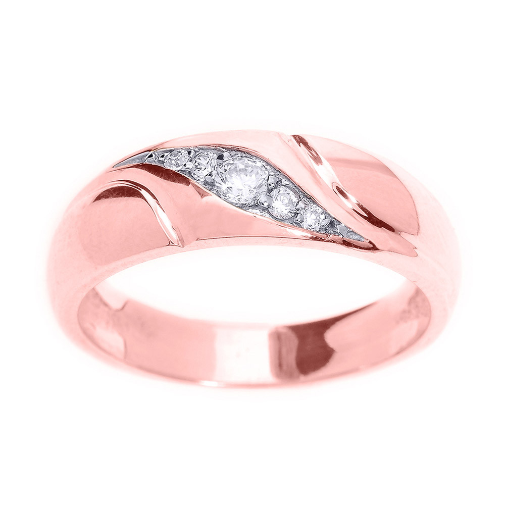 Men\'s 0.14ct Diamond Wedding Ring in 9ct Rose Gold | Gold Boutique