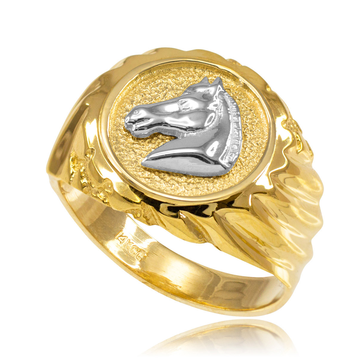 Men S Horse Head Ring In 10k Gold Gold Boutique