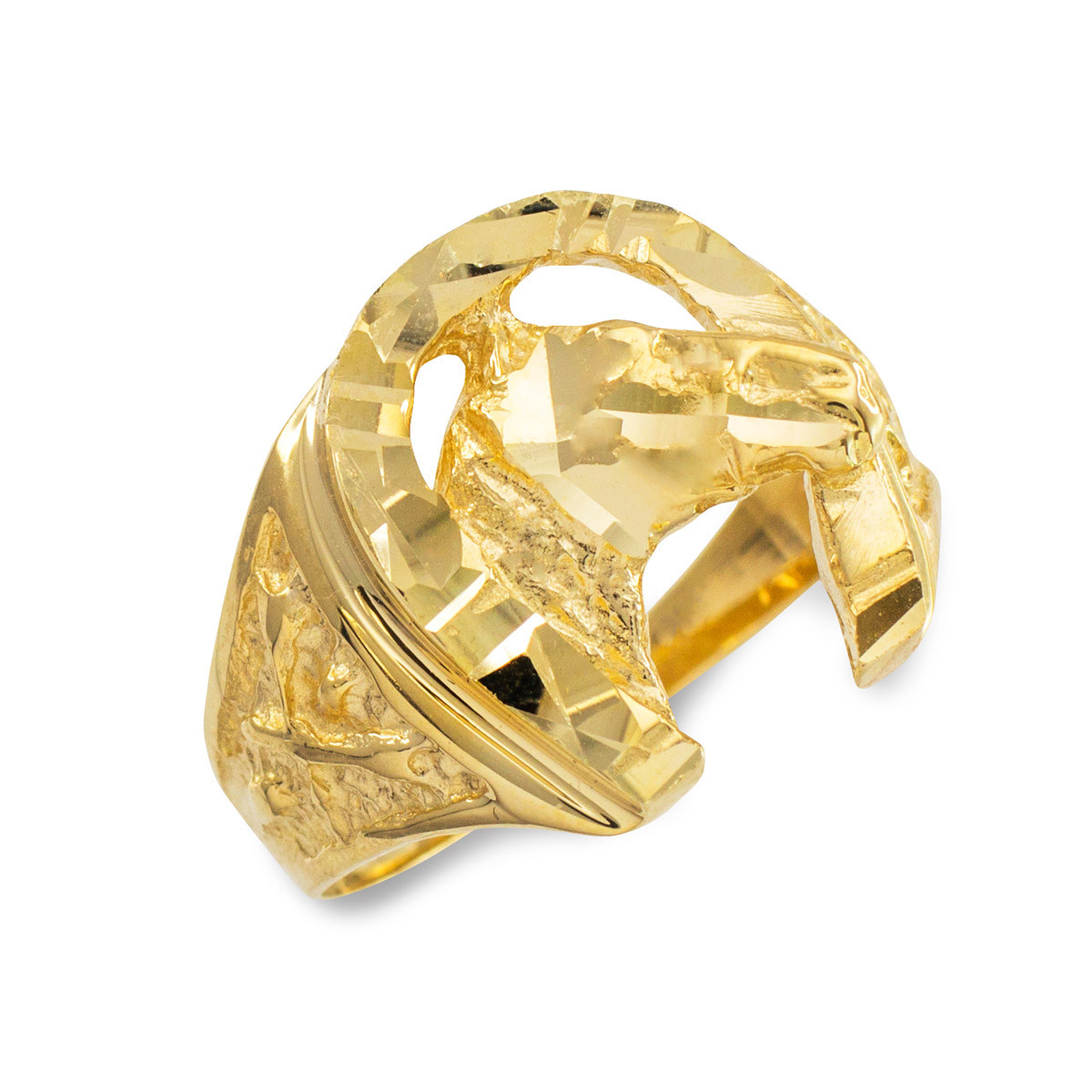 Men S Precision Cut Horse Head Horseshoe Ring In 10k Gold Gold Boutique