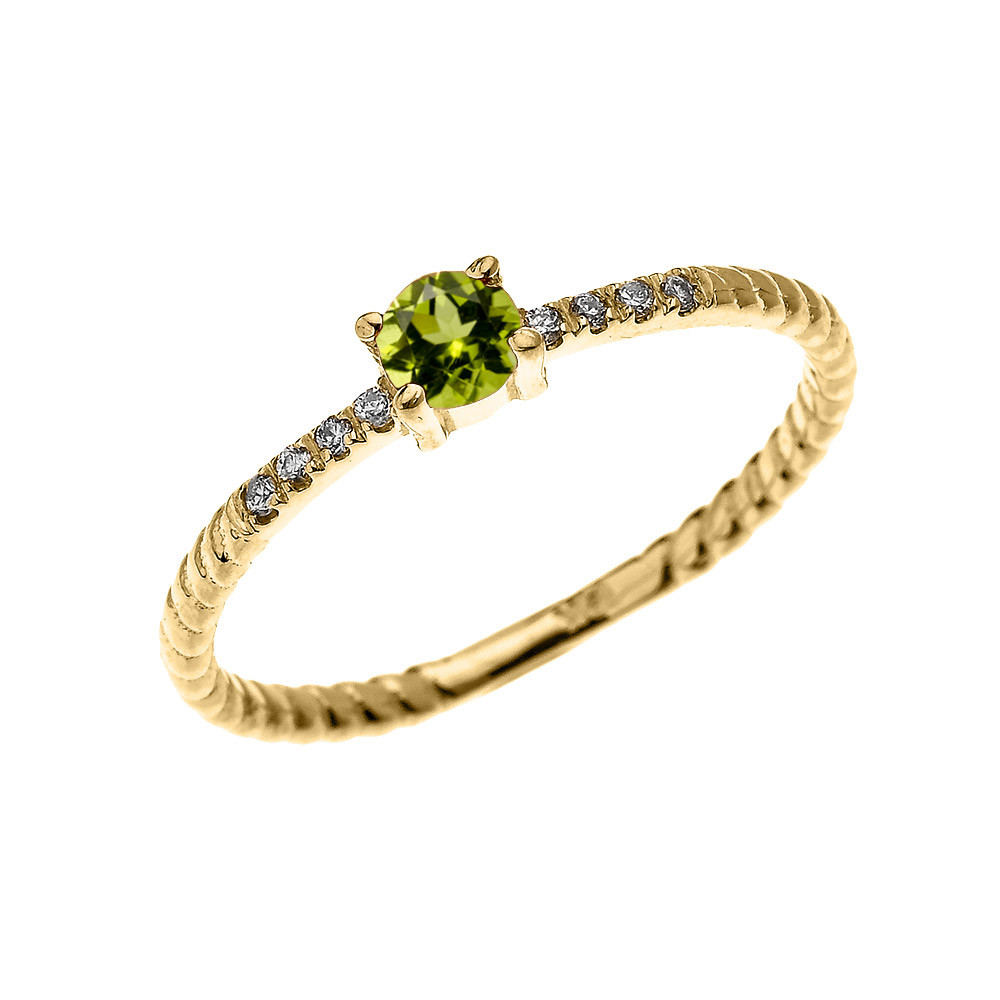 Rope Design Bands: 0.08ct Peridot Stackable Rope Design Twisted Rope Ring In