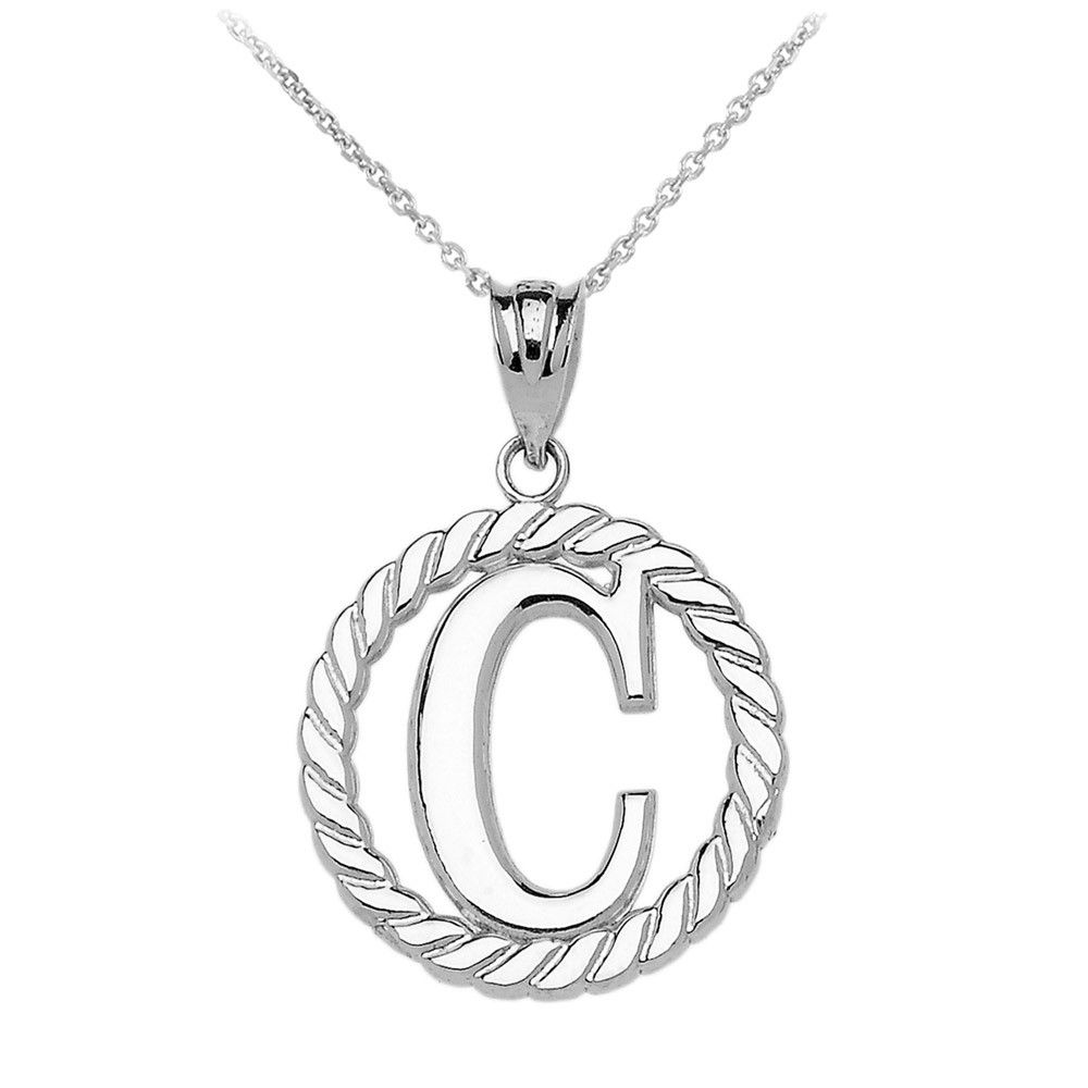 letter pendant rope circle letter c pendant necklace in sterling silver 23116