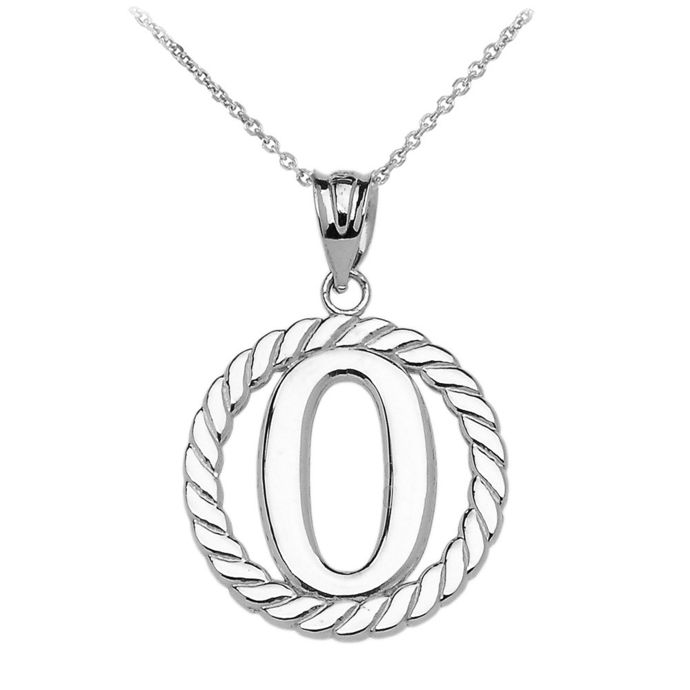 letter pendant rope circle letter o pendant necklace in sterling silver 23116