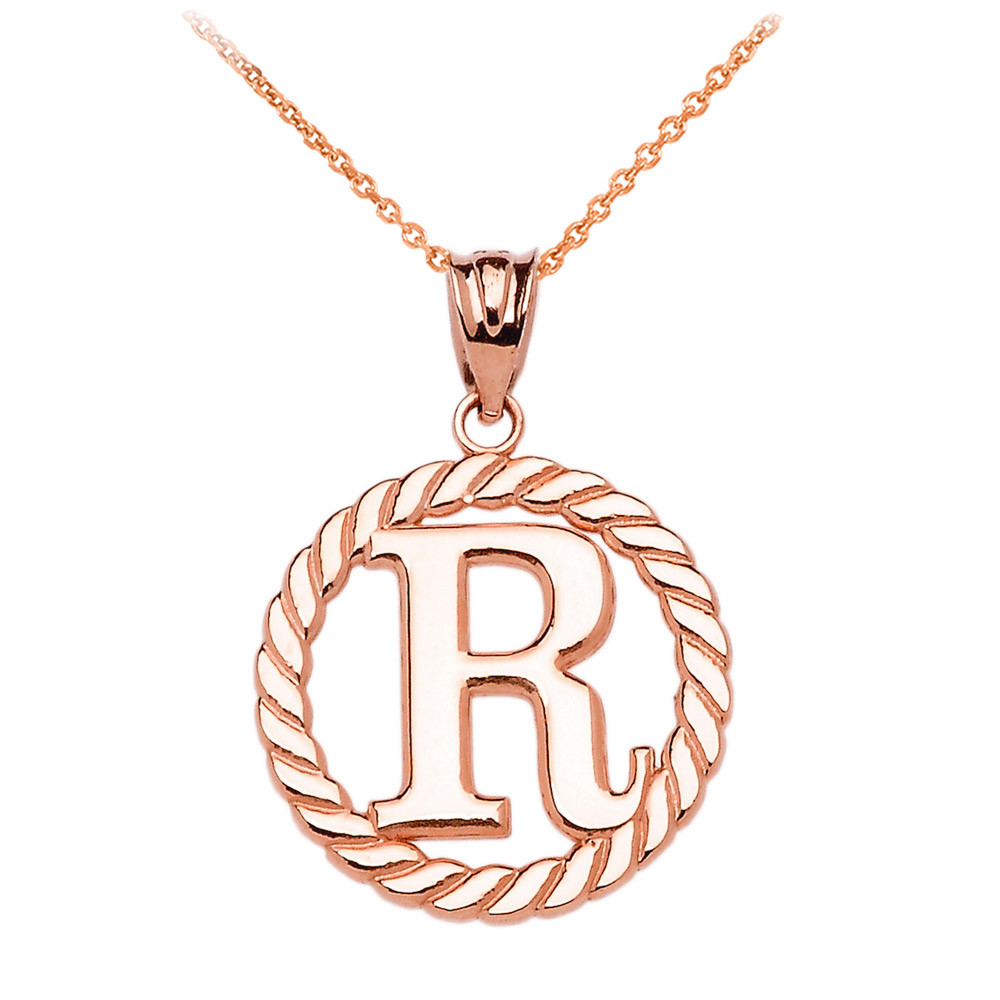 Rope Circle Letter R Pendant Necklace In 10K Rose Gold