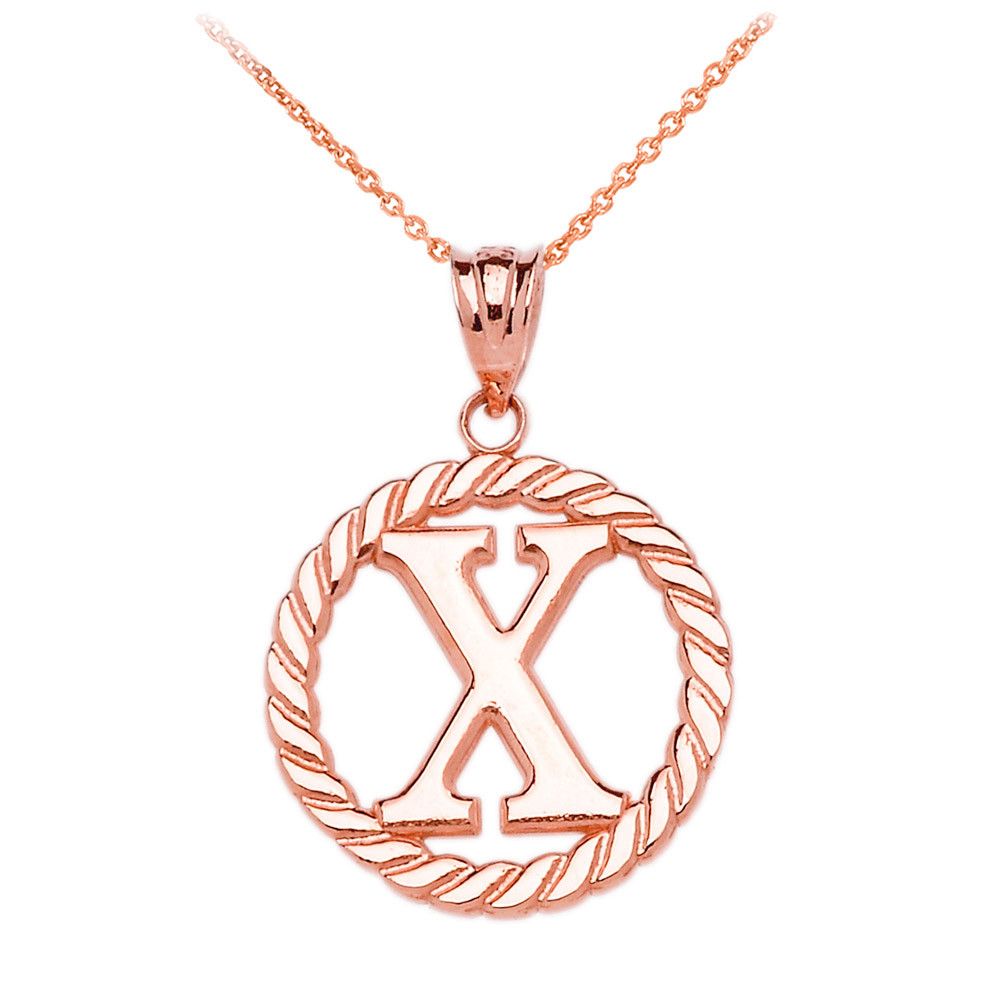 Rope Circle Letter X Pendant Necklace in 10K Rose Gold | Gold Boutique