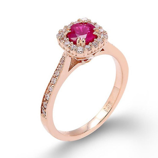 0a841edb63 Gold Boutique Ruby and Diamond Halo Engagement Ring in 9ct Rose Gold ...