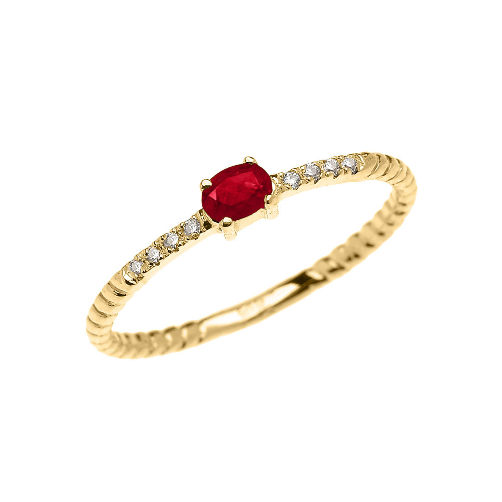 Rope Design Bands: 0.1ct Ruby Rope Design Promise Twisted Rope Ring In 9ct