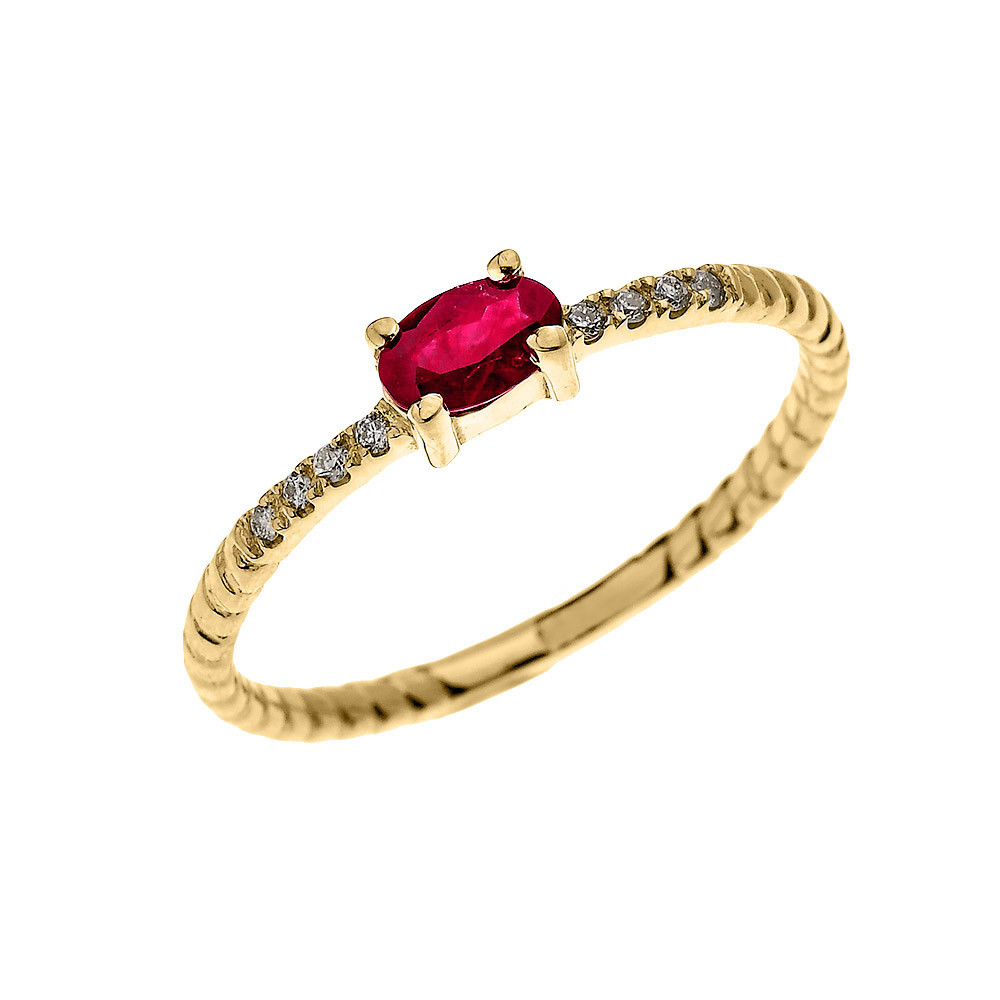 Rope Design Bands: 0.15ct Ruby Stackable Oval Rope Design Twisted Rope Ring