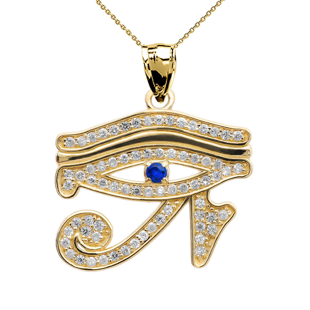 002ct sapphire and diamond eye of horus charm pendant necklace in the eye of horus also known as the eye of ra symbolises royal power and good health sapphire and diamond charm pendant necklace in solid 9ct aloadofball Choice Image