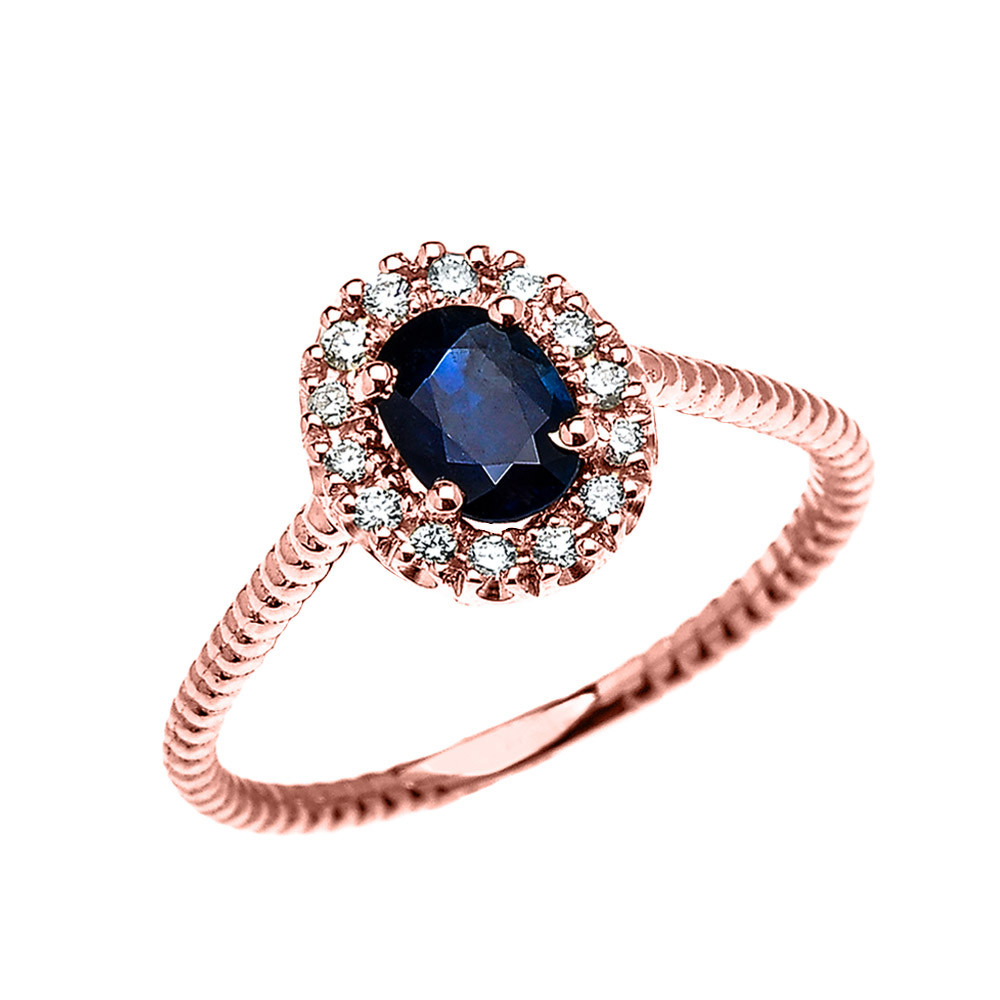 1af777b8cdfdc 0.25ct Sapphire Halo Rope Design Promise Ring in 9ct Rose Gold