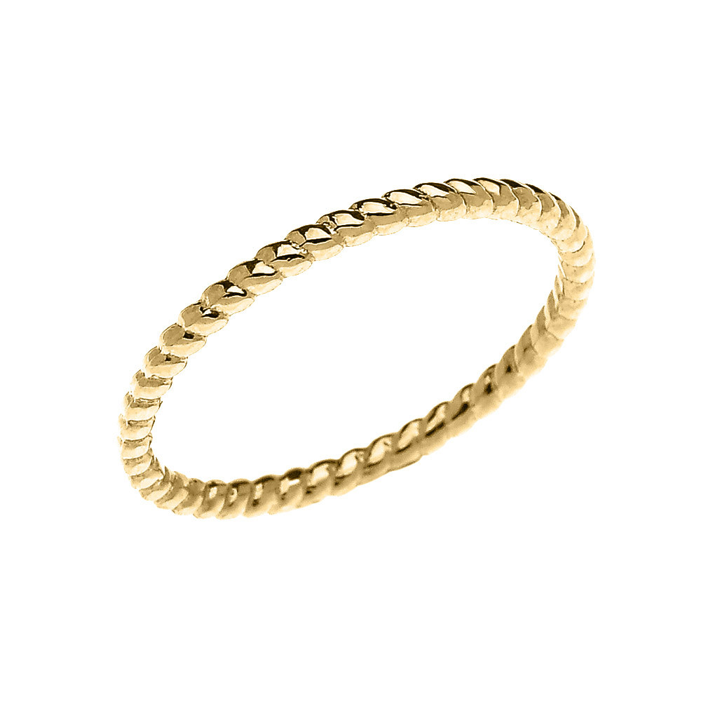 Rope Design Bands: Stackable Rope Design Twisted Rope Ring In 9ct Gold