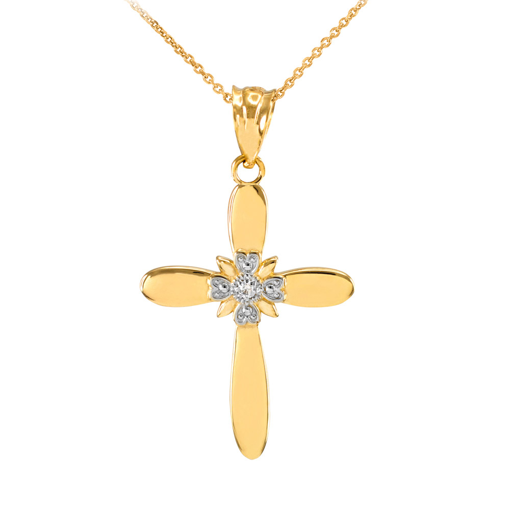 0.019ct Diamond Accent Cross Pendant Necklace in 14K Gold