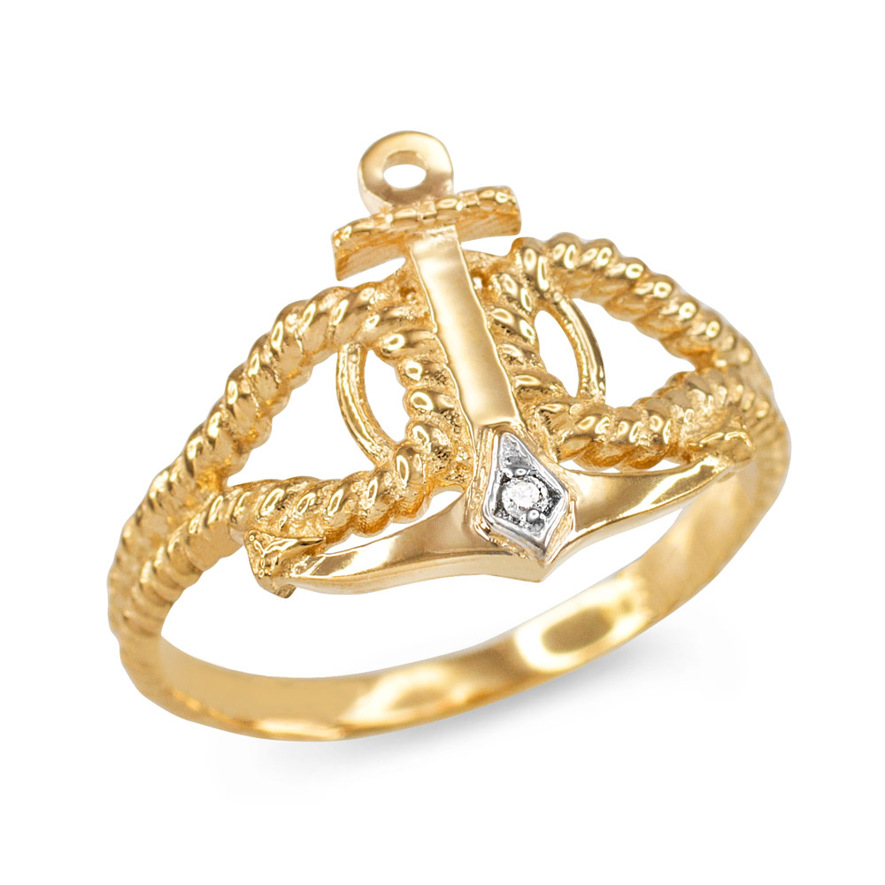 Diamond Accented Anchor Ring in 9ct Gold