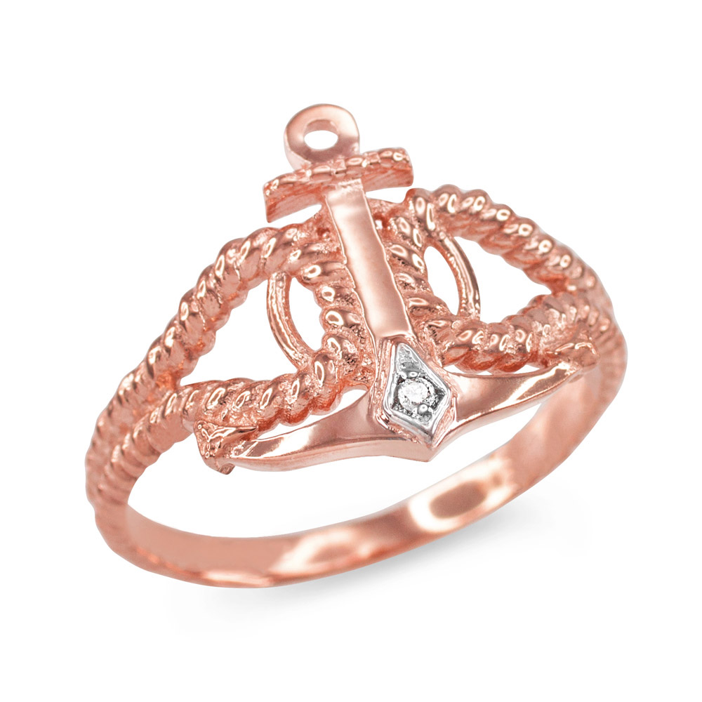 Diamond Accented Anchor Ring in 9ct Rose Gold