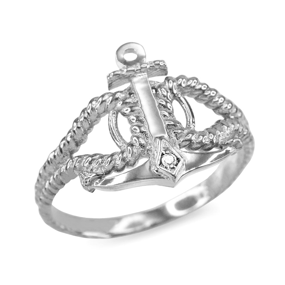 Diamond Accented Anchor Ring in 9ct White Gold