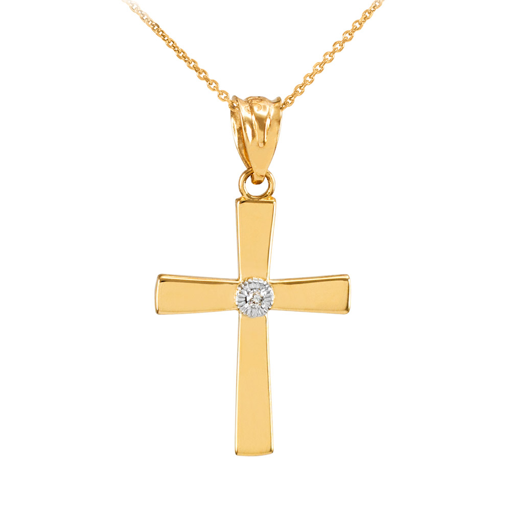 0.019ct Diamond Accented Cross Pendant Necklace in 14K Gold