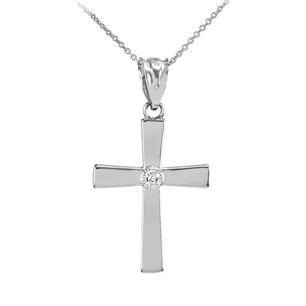0.019ct Diamond Accented Cross Pendant Necklace in 14K White Gold