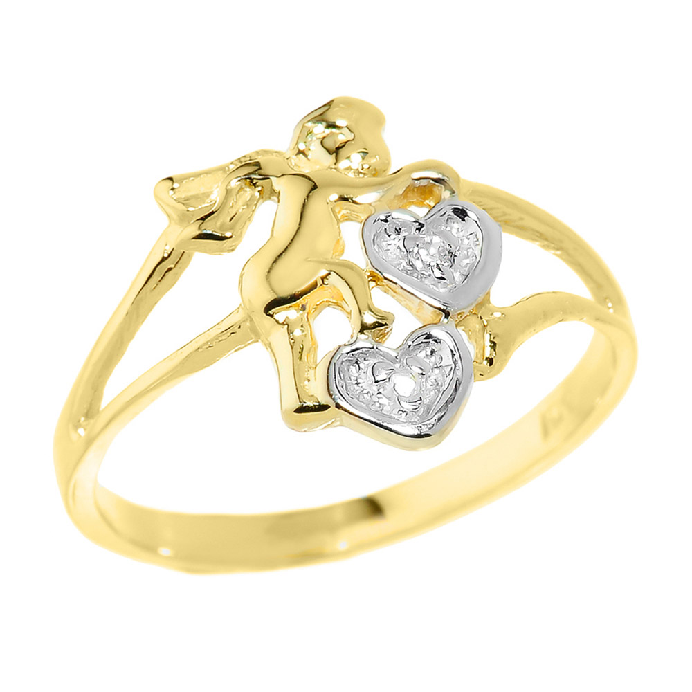 0.01ct Diamond Angel Hearts Ring in 14K Gold
