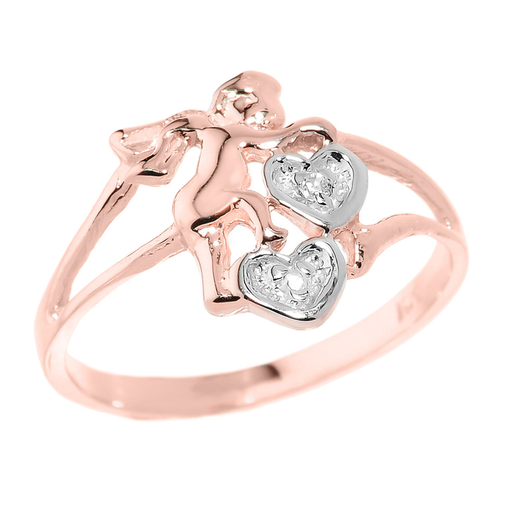 0.01ct Diamond Angel Hearts Ring in 14K Rose Gold