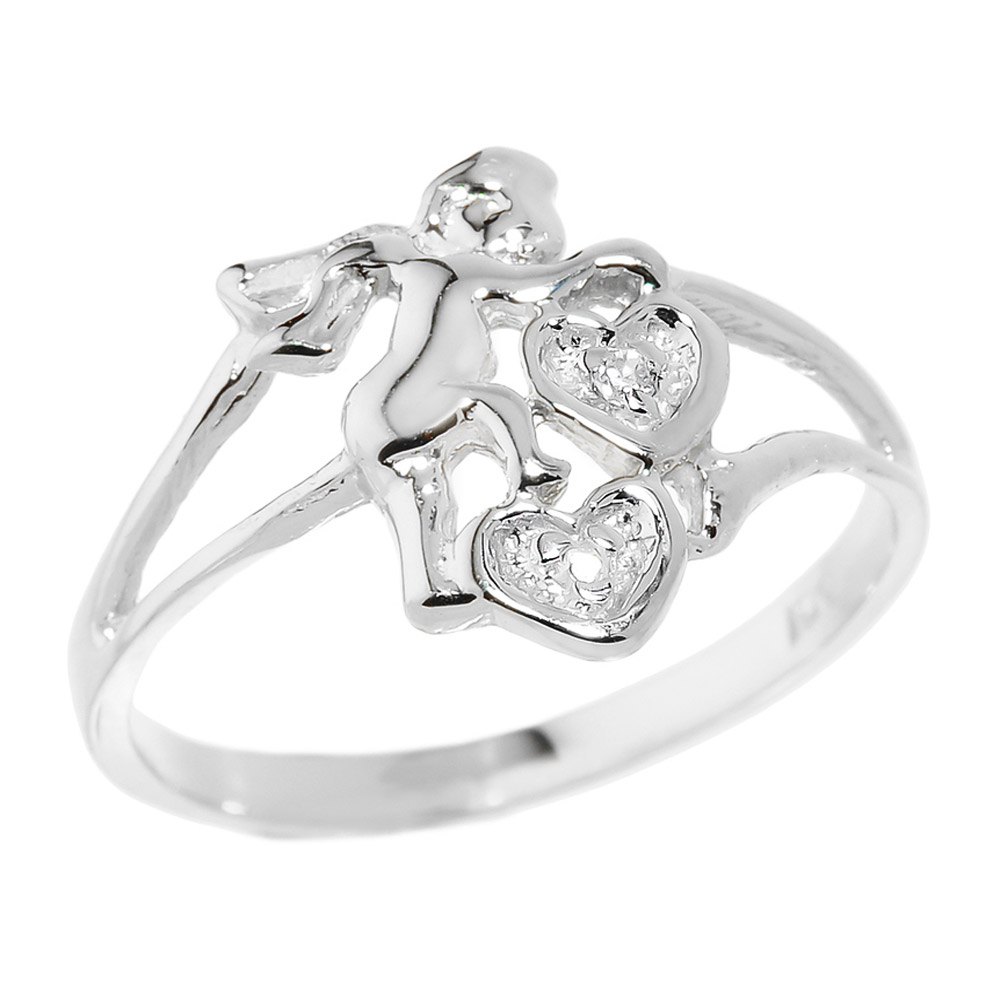 0.01ct Diamond Angel Hearts Ring in 14K White Gold
