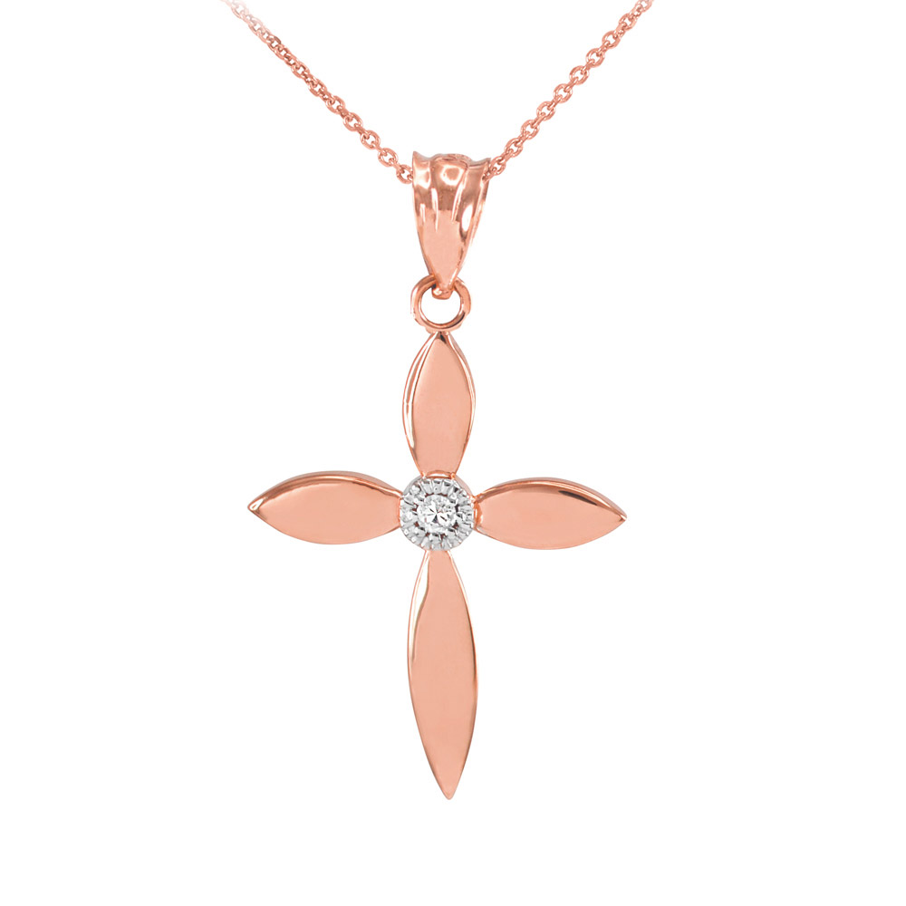 0.019ct Diamond Beauty Cross Pendant Necklace in 14K Rose Gold