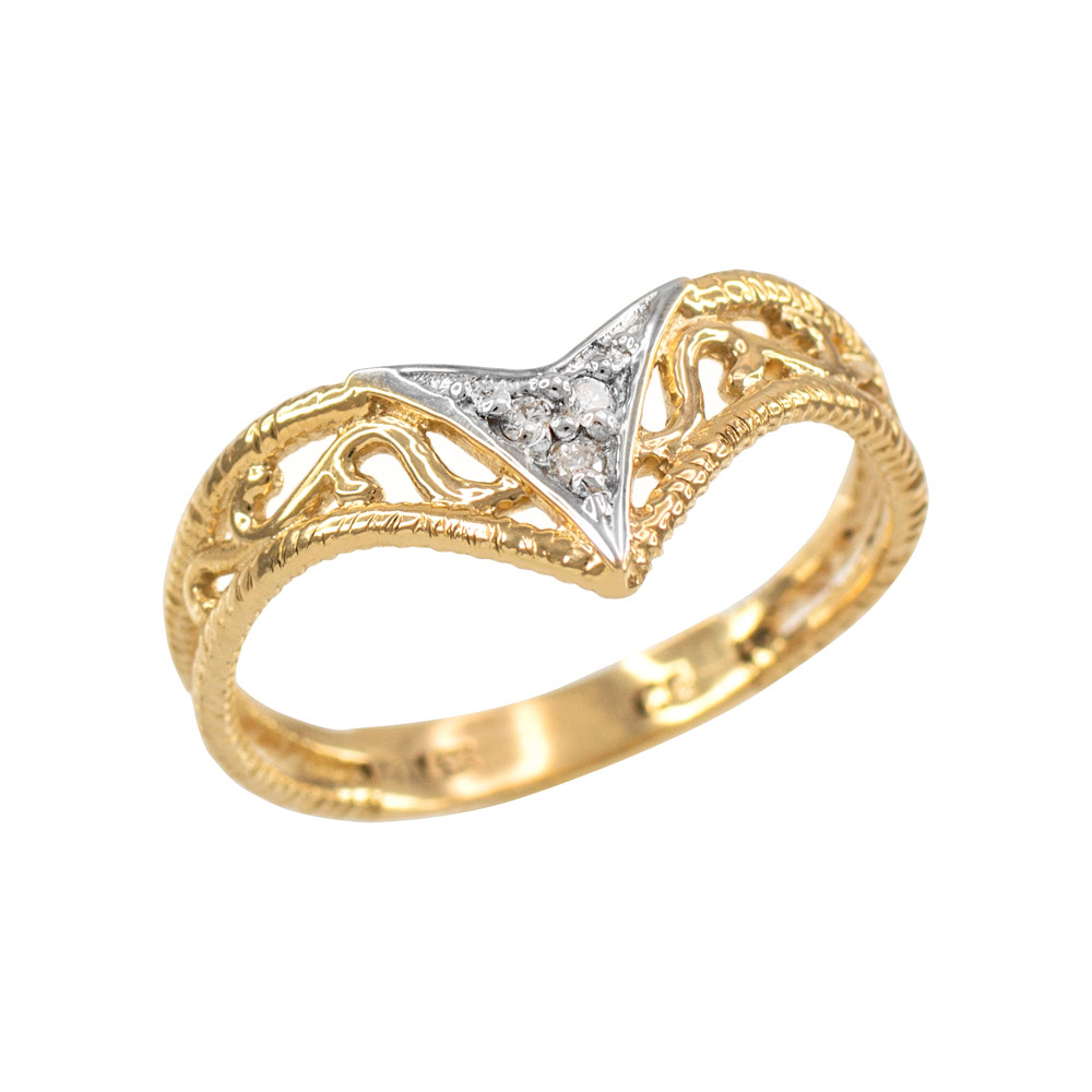 0.03ct Diamond Chevron Filigree Ring in 14K Gold