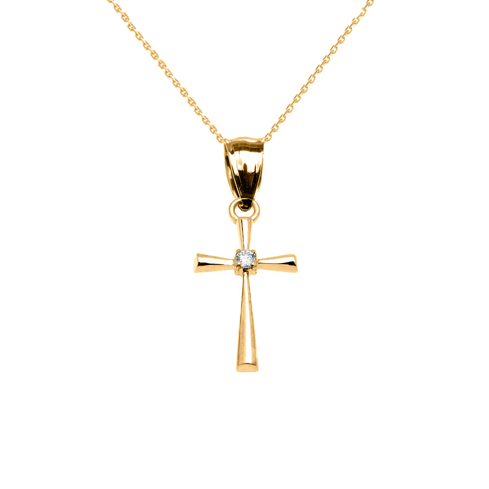 0.013ct Diamond Cross Pendant Necklace in 14K Gold