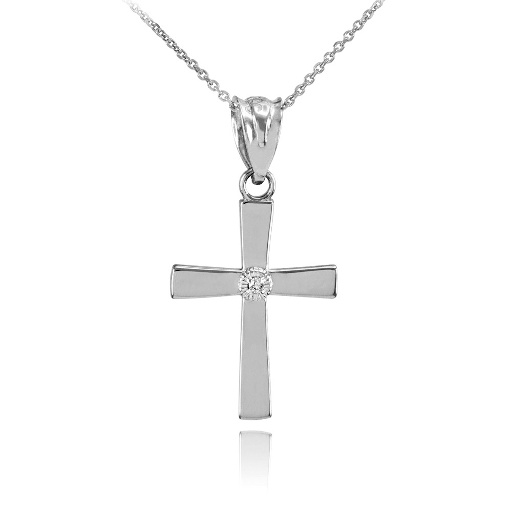 0.005ct Diamond Cross Pendant Necklace in 14K White Gold