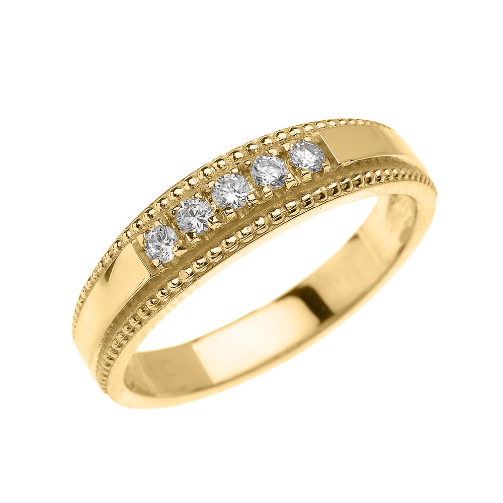 0.15ct Diamond Elegant Wedding Ring in 14K Gold