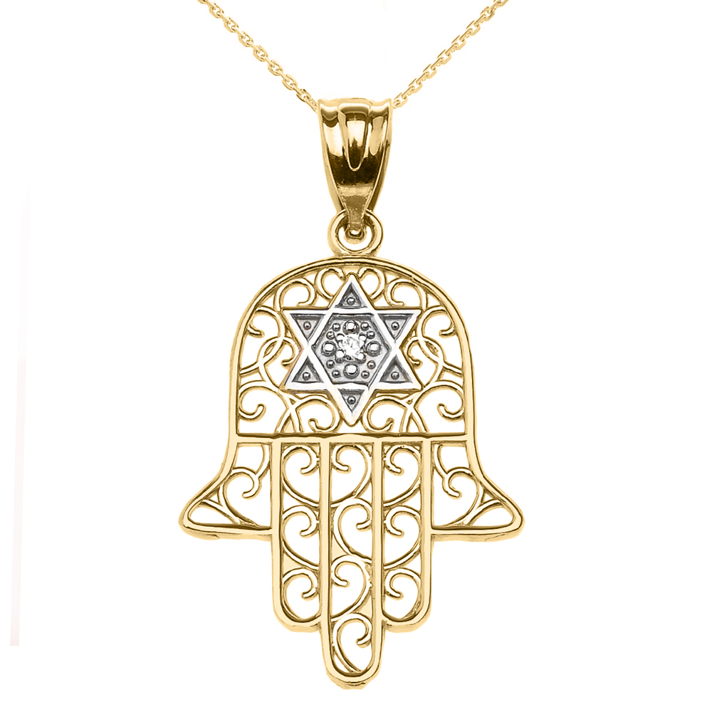0.01ct Diamond Hamsa Hand Star of David Pendant Necklace in 14K Gold